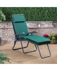 CHARCOAL SUNLOUNGER LUX GREEN CUSHION