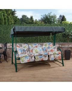 3 Seater Reclining Swing Seat with Classic Cushions (Green Frame)