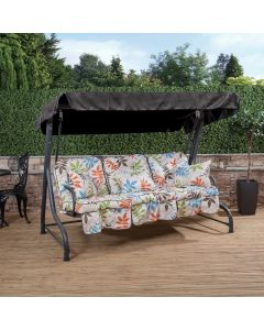 3 Seater Charcoal Swing Seat with Alexandra Beige Classic Cushions