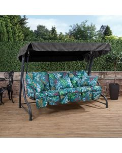3 Seater Charcoal Swing Seat with Alexandra Green Leaf Classic Cushions
