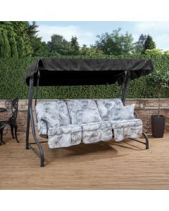 3 Seater Charcoal Swing Seat with Francesca Grey Classic Cushions