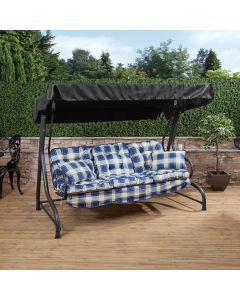 3 Seater Charcoal Swing Seat with Blue Check Classic Cushions