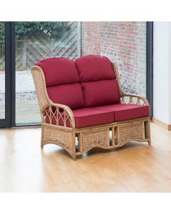 Java 2 Seater Cane Conservatory Sofa - Low Back Premium Chilli