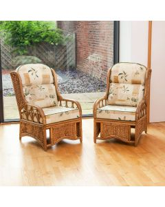 2 Java Cane Conservatory Armchairs - Low Back Harrogate Natural