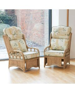 2 Java Cane Conservatory Armchairs - High Back Harrogate Natural