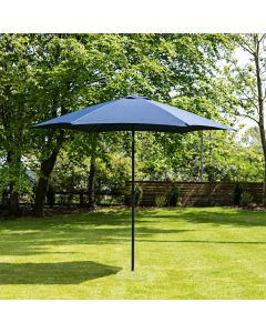 3m Aluminium Wind Up Garden Parasol - Navy Blue