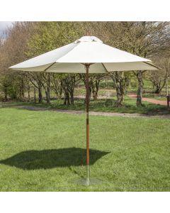 3m Wooden Garden Parasol - Cream