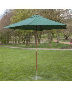 3m Wooden Garden Parasol - Green