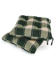 2 Classic Seat Pads in Green Check