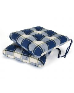 2 Classic Seat Pads in Blue Check