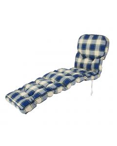 Classic Sun Lounger Cushion in Blue Check