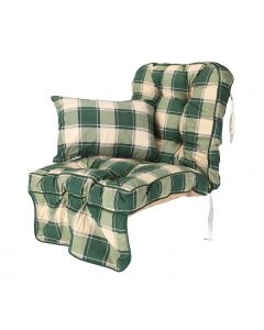 Single Classic Garden Swing Seat Cushion - Green Check
