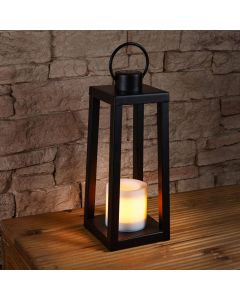 42cm Solar Power Tall Iron Lantern with Flickering Flame Candle