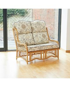Bali 2 Seater Cane and Square Lattice Conservatory Sofa - High Back Bamboo Natural