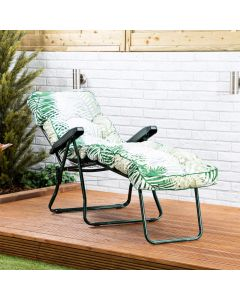 Sun Lounger - Green Frame with Bamboo Leaf Classic Cushion