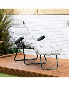 Sun Lounger - Green Frame with Grey Classic Cushion
