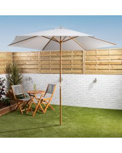 3mtr Wooden Parasol With Crank - Grey