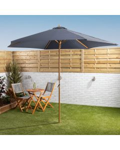 3mtr Wooden Parasol With Crank - Blue