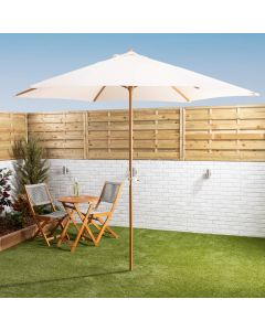 3mtr Wooden Parasol With Crank - Cream