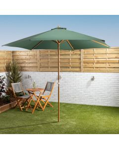 3mtr Wooden Parasol With Crank - Green
