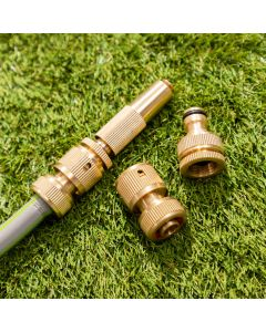 Brass Hose Fittings Connector Set Universal - 4 Pieces