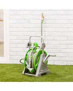 Portable Hose Reel Set 30M with 9 Setting Spray Gun and Auto Wind-Up Guiding System