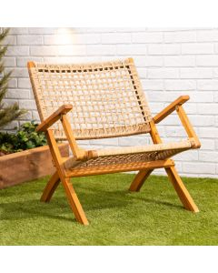 Wooden Accent Chair – Folding Woven Seat