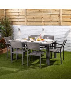 Santorini 6 Seater Dining Set - Rectangular Table with Six Slatted Chairs