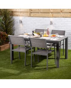 Santorini 4 Seater Dining Set - Rectangular Table with Four Slatted Chairs