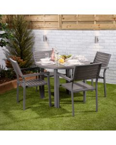 Santorini 4 Seater Dining Set - Round Table with Four Slatted Chairs
