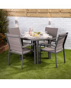 Mykonos 4 Seater Dining Set - Round Table with Four Texteline Chairs