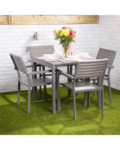 Santorini 4 Seater Dining Set - Square Table with Four Slatted Chairs