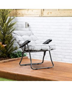 Recliner Chair - Charcoal Frame with Grey Classic Cushion
