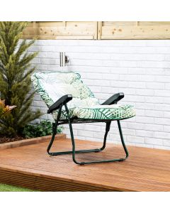 Recliner Chair - Green Frame with Bamboo Leaf Classic Cushion