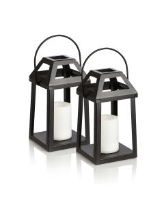 Set of Two Outdoor Solar Lanterns - Flickering Flame Soft Lighting
