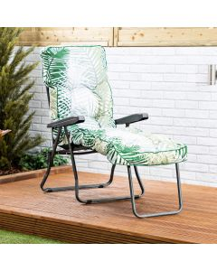 Sun Lounger - Charcoal Frame with Bamboo Leaf Classic Cushion