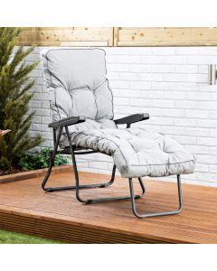 Sun Lounger - Charcoal Frame with Grey Classic Cushion