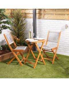 Wooden Bistro Set – Grey Woven Seats