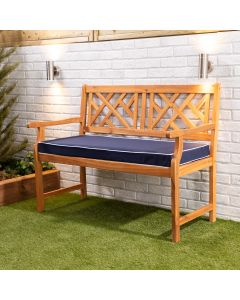 Wooden Garden Bench 2-Seater with Blue Luxury Cushion