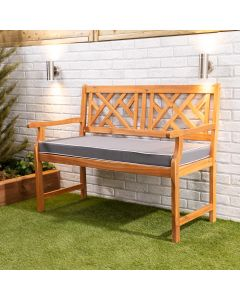 Wooden Garden Bench 2-Seater with Grey Luxury Cushion