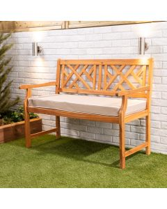 Wooden Garden Bench 2-Seater with Taupe Luxury Cushion