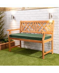 Wooden Garden Bench 2-Seater with Green Luxury Cushion
