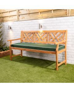 Wooden Garden Bench 3-Seater with Green Luxury Cushion