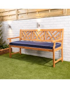 Wooden Garden Bench 3-Seater with Blue Luxury Cushion