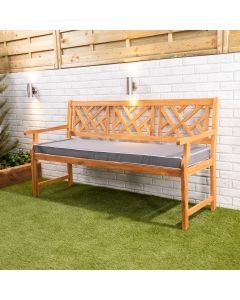 Wooden Garden Bench 3-Seater with Luxury Cushion