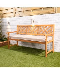 Wooden Garden Bench 3-Seater with Taupe Luxury Cushion