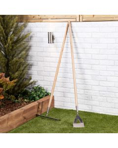 Stainless Steel Garden Hoe and Rake Set - Ash Wooden Handle