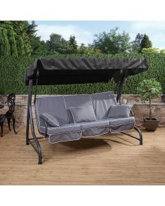 3 Seater Swing Seat with Luxury Cushions (Charcoal Frame)
